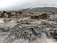 Coal ash deposits in the Emory River from the 2008 coal ash disaster in Harriman, TN