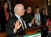Senator Ben Cardin accepts an award and speaks during the legislative reception for the End Mountaintop Removal Week in Washington