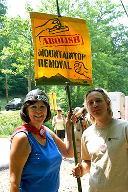 Executive Director Willa Mays marches with Stefan Jirkan during the Blair Mountain March