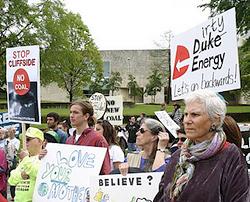 Citizens protest Duke Energy's Cliffside power plant.