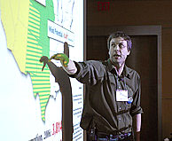 Appalachian Voices' Matt Wasson delivers a presentation on the science of mountaintop removal coal mining