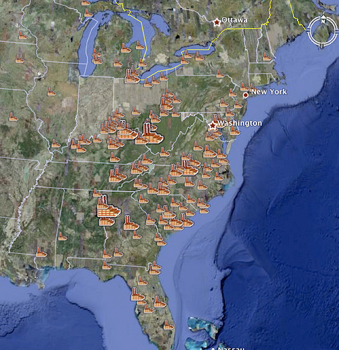 Locations in the U.S. where coal-fired power plants burn mountaintop removal mined coal