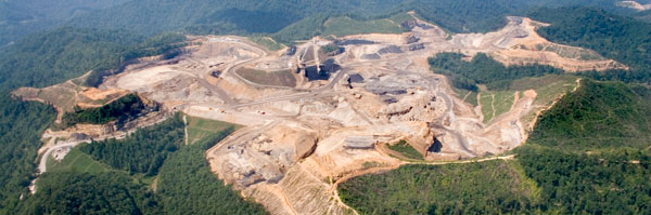 An aerial view of mountaintop removal mining in Appalachia