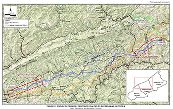 The proposed route of the Coalfields Expressway in Virginia - Click for larger map