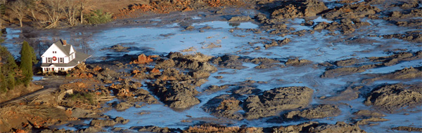 An ariel view of the TVA Coal ash disaster by Dot Griffith