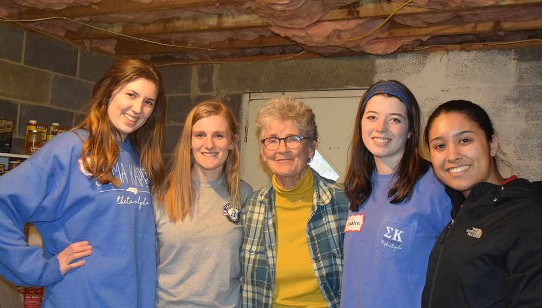 """Weatherizing a residential home in Watauga County for the Martin Luther King Day Challenge"