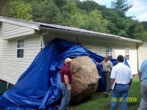 A House Damaged by a Boulder in Floyd County, KY