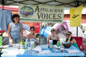 Appalachian Voices booth at Music on the Mountaintop