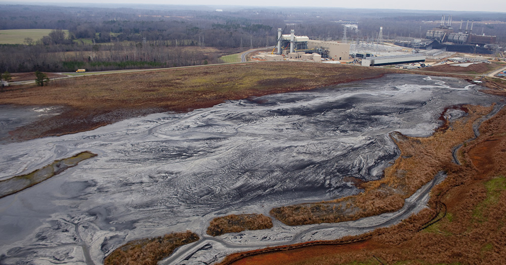Coal Ash pond at Buck Steam Station, photo by Les Stone/Greenpeace