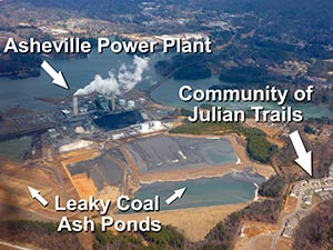 Too Close For Comfort? The Asheville Steam Station's coal ash ponds loom over nearby neighborhoods.