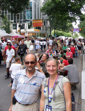 App Voices staff Lenny Kohm and Cat McCue arrive at CarolinaFest, one of the day-long kickoff events at the DNC
