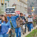 In the wake of Patriot Coal's broken promises to union miners and retirees, The United Mine Workers of America have represented their members' sense of injustice in cities and courtrooms across the region. Photo by Ann Smith, special to the UMW Journal