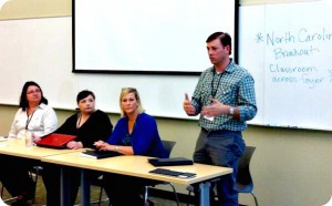 Coal Ash Stories Panel - (left to right) - Joan Walker (Southern Alliance for Clean Energy), Rhiannon Fionn-Bowman (Coal Ash Chronicles), Donna Welch (impacted resident of Juliette, GA), Brian Adams (Attorney at Gautreax & Adams)