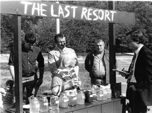 """To bring attention to water problems caused by mining, oil and gas drilling and landfills, KFTC members took water samples to Frankfort, set up a """"lemonade stand"""" and offered passersby drinks like Brine Brew. Photo courtesy of Kentuckians For The Commonwealth, kftc.org"""
