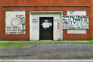 The shuttered union hall is a symbol of the decline of unions in Appalachian coal-mining communities. At the turn of the 21st century, membership in the United Mine Workers of America had declined to nearly half what it was in 1950. Photo by Earl Dotter (earldotter.com)