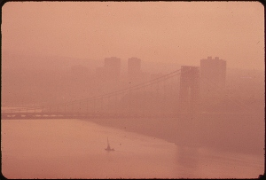 Heavy smog once blanketed many of the nation's cities. Pictured here is New York's George Washington Bridge in 1973. Photo credit: U.S. National Archives