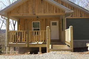 The siding used to construct the GreenWood Community homes is locally sourced hemlock wood. Photo by Alex Hooker