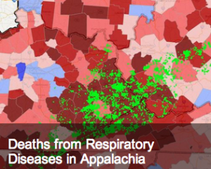 This map captures the correlation between deaths from respiratory disease in Appalachia and mountaintop removal coal mining.