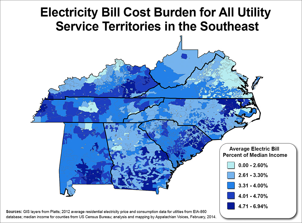 Electricity Costs Tied To Poverty In The South Appalachian Voices - Us-electric-utility-map
