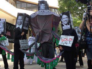 Protesters outside Duke Energy's shareholder meeting.