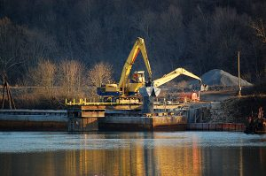 Coal ash is placed at a minefill site on the banks of the Monongahela River, a public drinking water source, in LaBelle, Pa. Photo by Lisa Graves-Marcucci, courtesy of Citizens Coal Council.