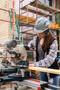 Student works on building