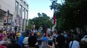 Appalachian Voices North Carolina Campaign Coordinator Amy Adams addresses the crowd at the first Moral Monday protest.