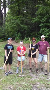 Appalachian Voices staff and interns working on biking trails near Norton, Va., with Shayne Fields.