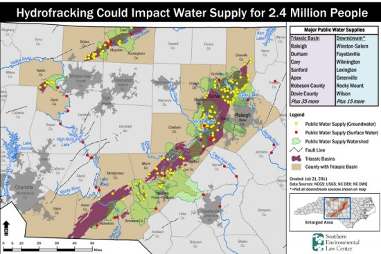 Potential natural gas drilling sites and drinking water supplies. Graphic by Southern Environmental Law Center. Click to enlarge.