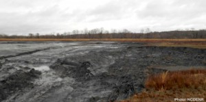 The failed coal ash pond at Duke Energy's Dan River plant.