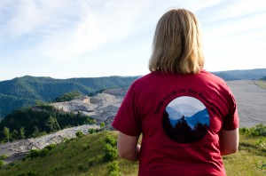 Amy Adams of Appalachian Voices looks over a mountaintop removal mine visible from Kayford Mountain, W.Va. Photo by Lynn Willis.