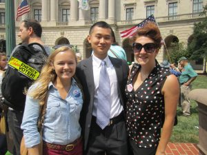 Appalachian Voices interns Marissa Wheeler and Jeff Fend, and Virginia Campaign Coordinator Hannah Weigard outside EPA headquarters in Washington, D.C.