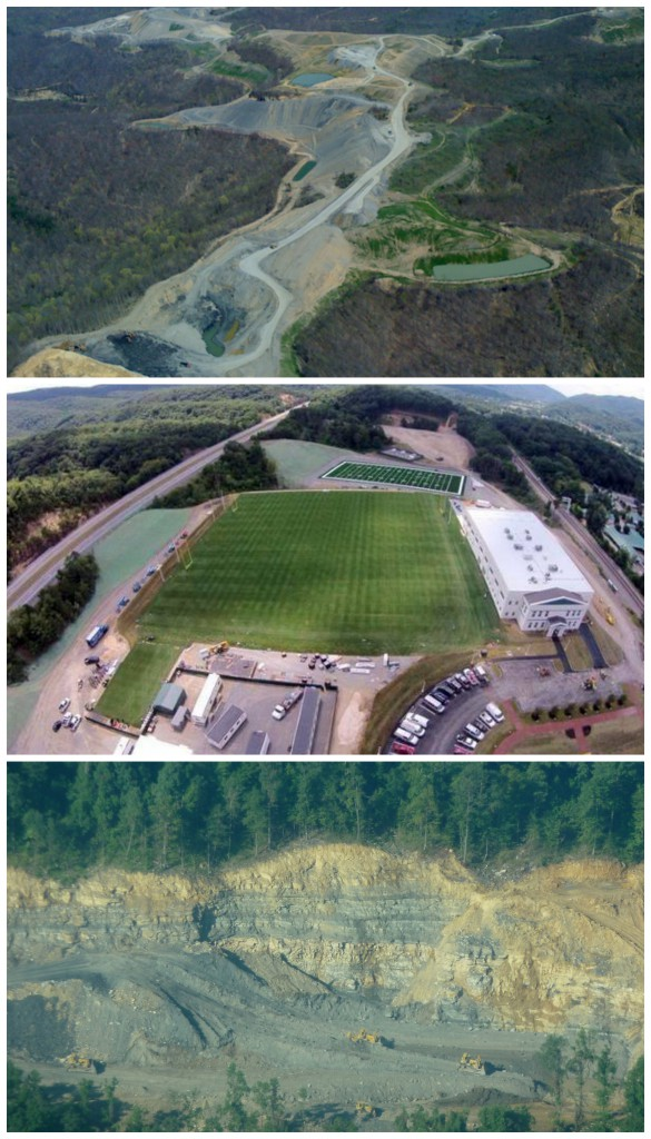 One of these things is not like the other, but they're all owned by Jim Justice. Premium Coal's Zeb Mountain (top) and Windrock Mountain mines in Tennessee, and the Greenbrier's new training complex. Photos from tnleaf.org and