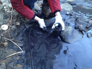 Erin Savage gathers samples at the site of the Fields Creek slurry spill in February 2014