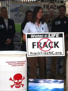Sarah Kellogg, Appalachian Voices' North Carolina field organizer, speaks to the crowd about the amazing contribution of westerners to the petition and the anti-fracking movement.