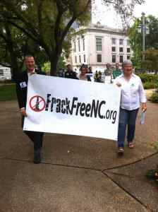 Members of the Frack Free NC Alliance, comprised of over 30 groups across N.C., deliver nearly 60,000 petition signatures to Gov. McCrory calling for a ban on fracking.