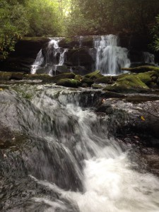 The Bald River pours over an unnamed waterfall that shelters a shallow swimming hole in the Upper Bald Wilderness Study Area. The Upper Bald is one of six areas included in the Tennessee Wilderness Act, which would designate more wilderness in the Cherokee National Forest. Photo by Chris Samoray.