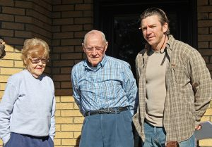 Thelma and Vance Woodie with Chuck Perry, program director for North Carolina Energy Efficiency Alliance.