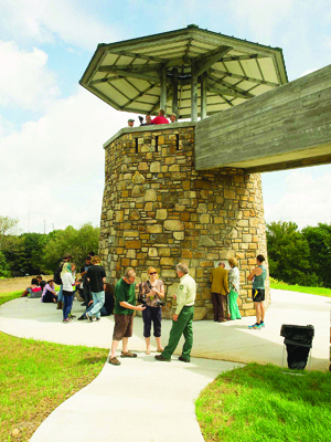 Visitors gather at High Knob Tower