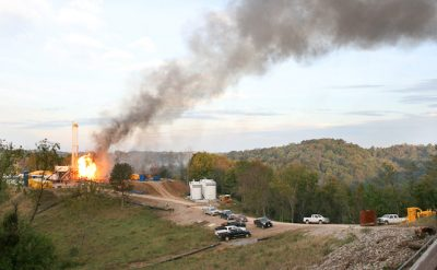 Fire on McDowell B well site near Wetzel County, W.Va. Photo by Ed Wade, Jr., courtesy of the Wetzel County Action Group