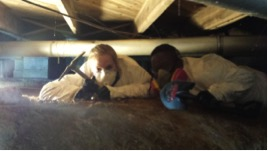 """Anne Carpenter (left) and Jelani Drew """"spelunking"""" in Anna Mae Shook's crawlspace. Photo by Jim Street"""