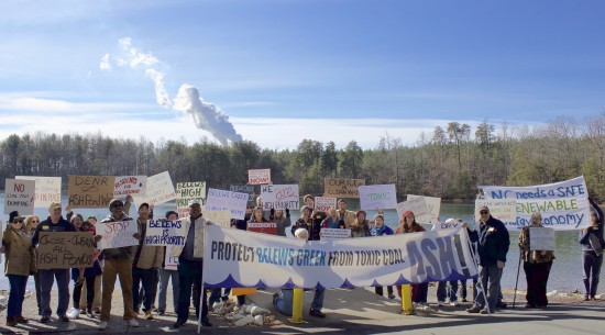 Local residents and activists gather at Belews Lake, home to Duke Energy's Belews Creek Steam Station, to demand an end to coal ash pollution in North Carolina.