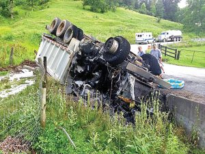 The large number of trucks needed to support drilling operations results n road damage and frequent accidents. Photo courtesy of West Virginia Host Farms, wvhostfarms.org