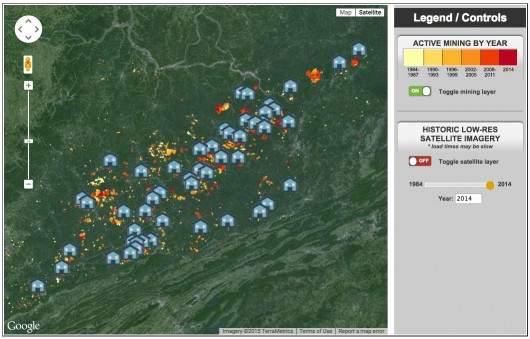 A view of the Communities at Risk mapping tool. Click to explore the map on iLoveMountains.org.