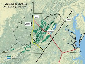 Proposed natural gas pipelines would expand the fuel's availability to southeastern electric utilities, but some concerned citizens want developers to better utilize existing pipeline capacity. Map created by Rick Webb for Appalachian Mountain Advocates.