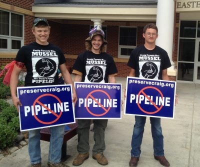 The James River Spinymussel crew of Craig County outside the first of two public hearings on the proposed Mountain Valley Pipeline.