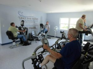 Patients excercise at a new rehabilitation clinic in Dawes, W.Va.  Photo courtesy The Breathing Center at Cabin Creek Clinic