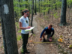 Adjunct professor Dr. Jeff Marion measures up Appalachian Trail conditions with doctoral student Holly Eagleston. Photo courtesy of Jeff Marion