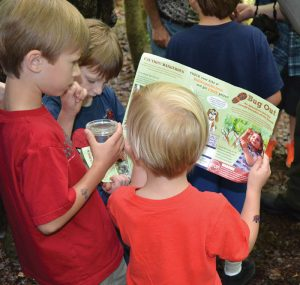 Young hikers examine a trail brochure in Virginia. Photo courtesy of Kids in Parks