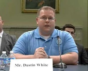 Dustin White, an organizer for the Ohio Valley Environmental Coalition, testifies before a House Subcommittee about mountaintop removal and its impacts on Appalachian communities.
